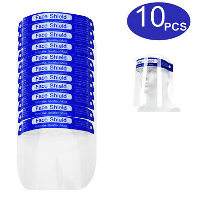 10PCS Safety Full Face Shield Clear Plastic Protector Anti-Fog for Adult