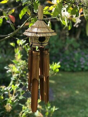 Bamboo Wind Chimes with Straw Bird House. Fairtrade. Total length 1m.
