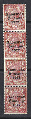 Ireland 1922 Sg 69 coil strip of four with coil join MNH