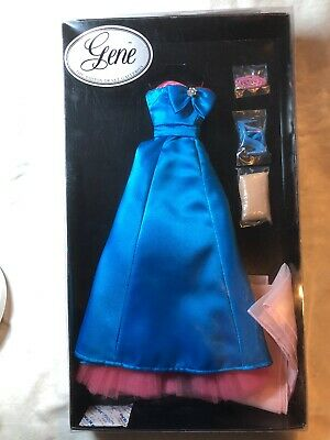 """16"""" Ashton Drake Gene Outfit """"Blue Evening"""" Pink & Blue Silky Gown Heels NRFB #I"""