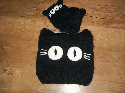 Next girls black cat beanie hat mitts set 3-6  years brand new with tags  winter