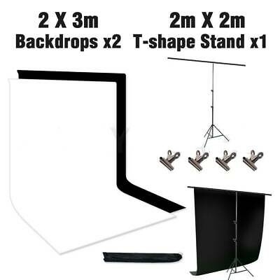 T type Photo Studio Background Support Stand Kit Black White Screen Backdrop Set