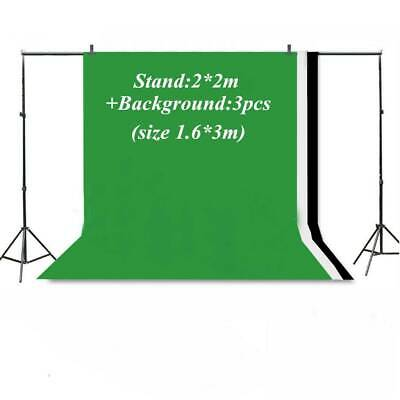 Photo Studio Background Support Stand + 3pcs Black&White&Green Screen Backdrop