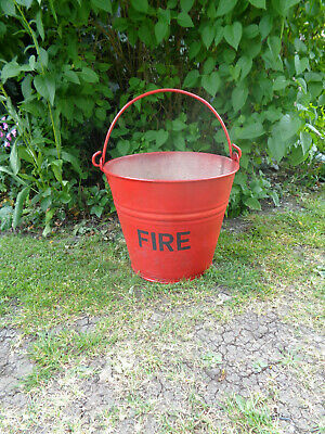 Vintage Bucket Painted Red with FIRE Lettering. Galv Metal.