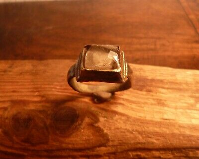 Stunning Medieval Bronze Tower Ring With White Stone-Metal Detecting Find