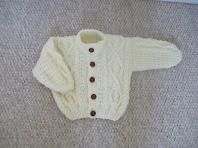 Hand Knitted Baby Clothes, Cream Aran Cardigan.