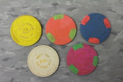 Lot Of 5 Assorted Paulson Poker Chips