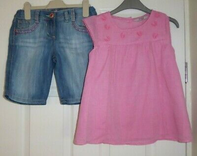SUPER GIRLS TOP by GEORGE + DENIM SHORTS by F & F FOR A GIRL, AGE 8- 9 YEARS