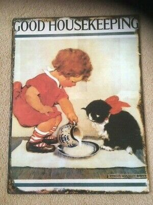 Good Housekeeping Metal Sign Painted Poster Wall Decor Art Retro Home