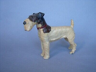 Large lead cold painted Airedale terrier / Scottie dog Vintage toy