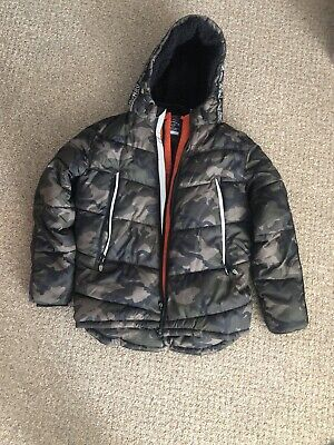 Boys George Coat Camo Green Black Size 12-13 Years Age Padded