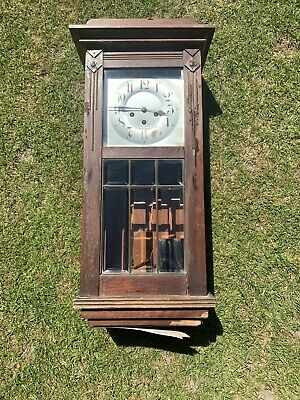 Antique Cased Wall Hanging Clock - For Spares Or Repair