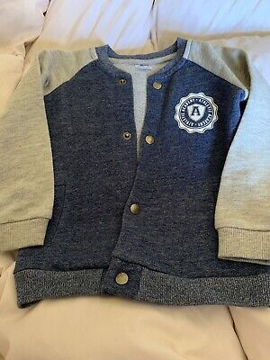 Boys Age 12-18months F&F Baseball Style Jacket Blue And Grey