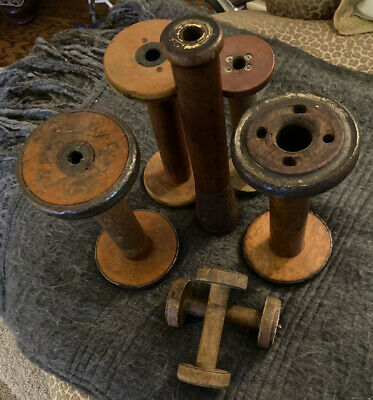 Vintage lot of 7 Antique Wooden Thread Bobbin Mill Textile Spools