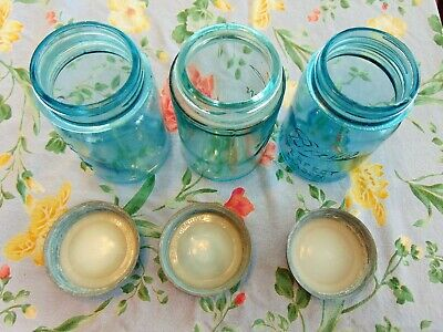 Still Another Three (3) Ball Perfect Mason Blue Glass One-Pint Canning Jars