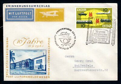East Germany DDR - 1963 Leipzig Autumn Trade Fare Airmail Flight Cover