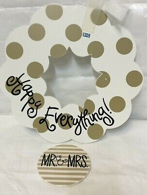 Coton Colors Large wooden wreath and ceramic attachment  FREE SHIPPING!!!