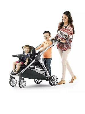 Chicco BravoFor2 Standing Sitting Quick-Fold Baby Double Stroller Iron NEW