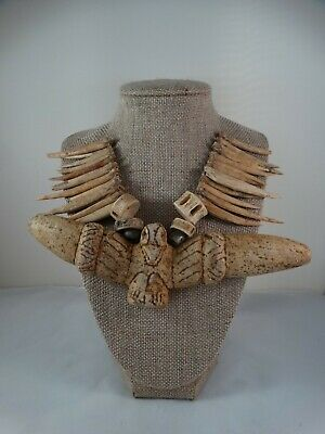 Pre-Columbian -Taino carved stone pectoral & bone Necklace. Cosme's Collection