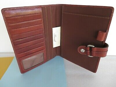 GREAT FOSSIL ~Brown Leather Padfolio WIRE BOUND Planner Cover Organizer Mag.Snap