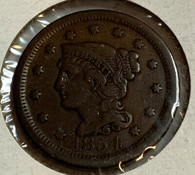 1854 Braided Hair Large Cent **Xf+** Rare Us Coin.