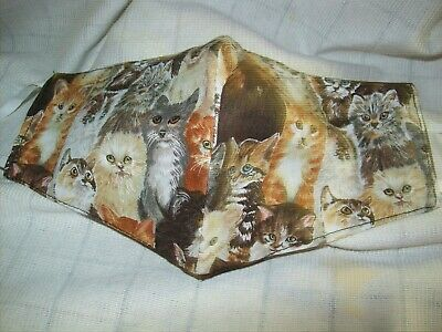 Face Mask Washable, Double Sided, KITTEN ASSORT. 10'' WIDE X 5'' NOSE TO CHIN