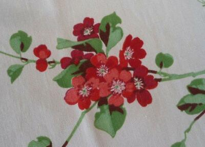 Vintage Wilendur Red Printed Cotton Tablecloth Jadeite Leaves Floral 50""