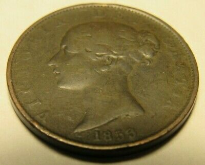 1853 Great Britain 1/2 Penny Half Penny-Very Nice Circulated Coin