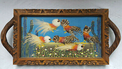 Vintage Folk Art Mexican Feathercraft Cockfight Roosters Hand Carved Wood Tray !