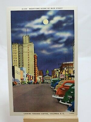 (PC) Night Time Scene of Main Street, Columbia,S.C.*Combined Shipping Available*