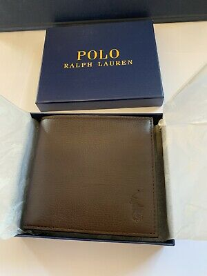 RALPH LAUREN POLO BROWN LEATHER WALLET with COIN POCKET Fathers Day Gift