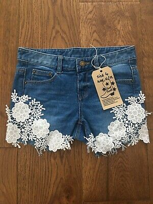 Girl's Blue Denim & Lace Summer Shorts, Distressed Apx Age 11/12 Holiday BNWT