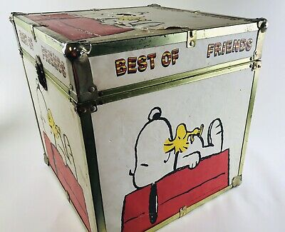 "Vintage HUGE 1965 Peanuts Snoopy Red Baron Wooden Toy Chest Box 16"" x 16"" Rare!"