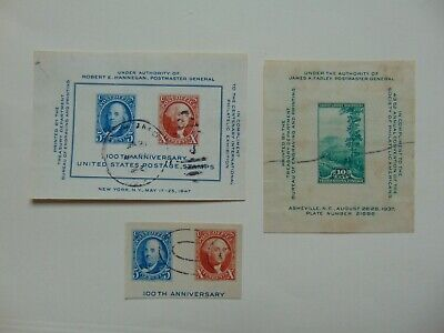 USA 3 pieces mini sheets 1947 100th anniv, smokey mountains mini sheet+ cut out