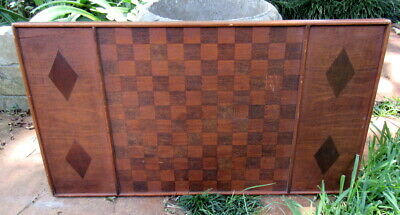 """Antique Solid WOOD Game CHECKER BOARD with Inlaid Diamonds - 17"""" x 30"""""""