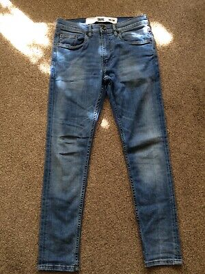 Boys Stonewash Bleach Blue Denim Skinny Jeans W30 L30 by Fabric VGC