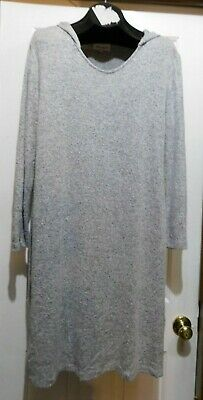 SERENGETI Pull On Soft Heathered Gray Hooded NIGHTGOWN HOUSE DRESS size Large