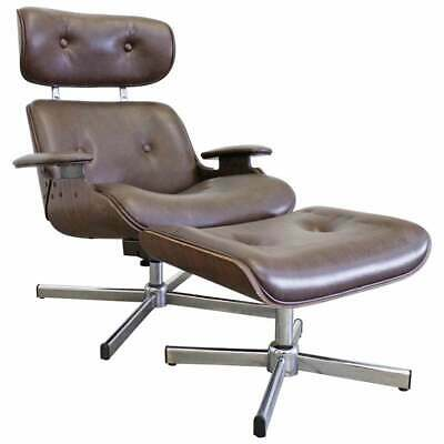 Mid-Century Modern George Mulhauser Plycraft Swivel Lounge Chair & Ottoman