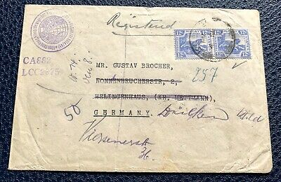 Malaya Straits Settlements 1923 used cover with 2 stamps to Germany
