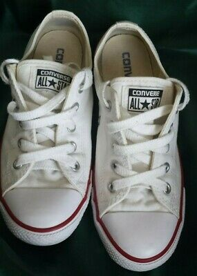 Converse All Star girls women white plimsoll pumps Trainers Size Uk 3.5 FREEPOST