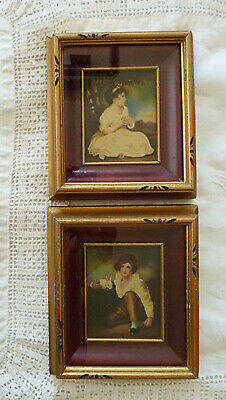 Antique Henry Raeburn Prints Shadow Box Frame Age Of Innocence & Boy With Rabbit