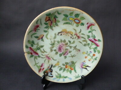 Antique Chinese Celadon Porcelain Plate Decorated In Flowers, Butterflies & Bird