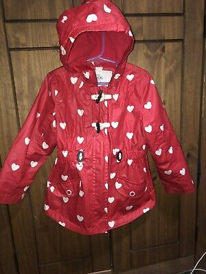 Marks and Spencer Girls Age 4-5 Years Red White Heart Coat