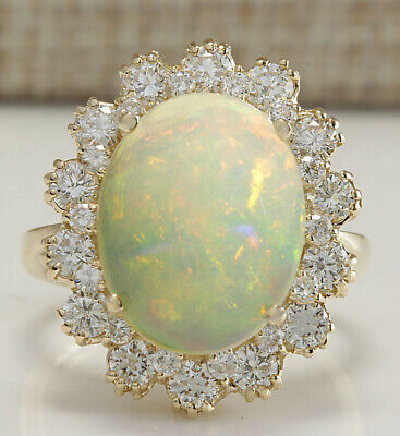 6.34 Carat Natural Opal 18K Yellow Gold Diamond Ring
