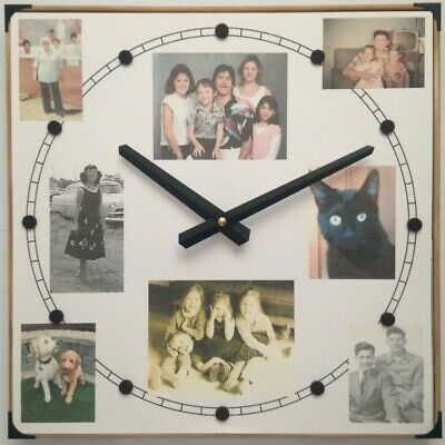 8-Photo Collage Wall Clock with Your Favorite Photos w/Time Ring