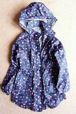 GIRL'S F&F NAVY RAINCOAT AGE 7-8 years, 128cm IN VERY GOOD CONDITION