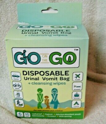Go On The Go - Disposable Urinal/Vomit Bag with Cleansing Wipes 6 Pack NIB