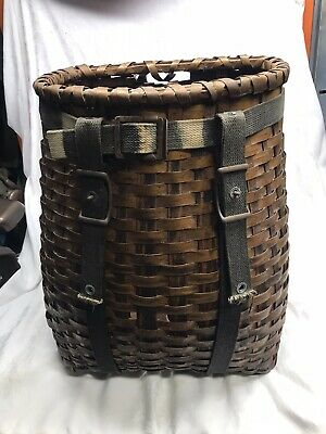 VINTAGE AUTHENTIC ANTIQUE ADIRONDACK TRAPPER BASKET, used, good condition