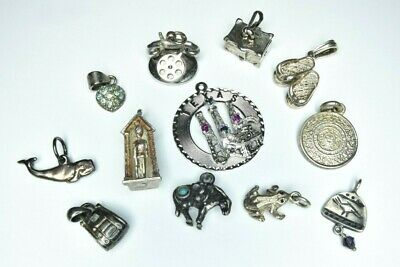 Antique Sterling Silver Charm .925 Jewelry Lot Telephone 3D Movable Turquoise