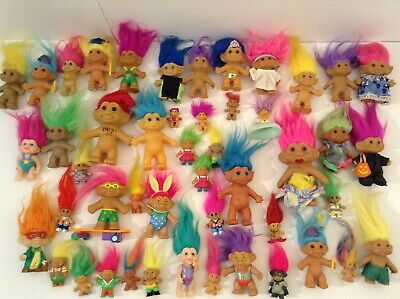 Vintage Assorted Troll Dolls Lot Of 48 Various Sizes And Outfits